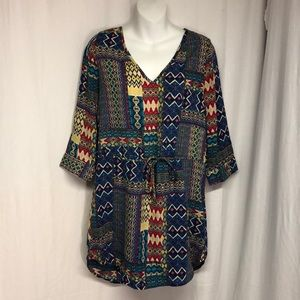 GLAM American Made M Turquoise Print Tunic Dress